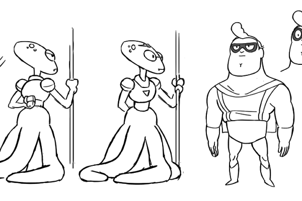 Ricky Cometa with some rough designs for a couple of Costume Quest characters