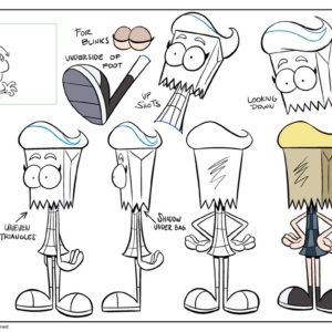 "Artemis and Elbow model sheets from ""Get Trashed,"" starring the Bagheads. You can watch…"