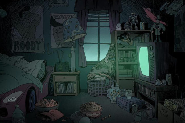 "What terrific Costume Quest backgrounds for Episode 106, ""Ghosting.""Designs: Ryan Andrews, Leonard Hung Color: Jisoo…"