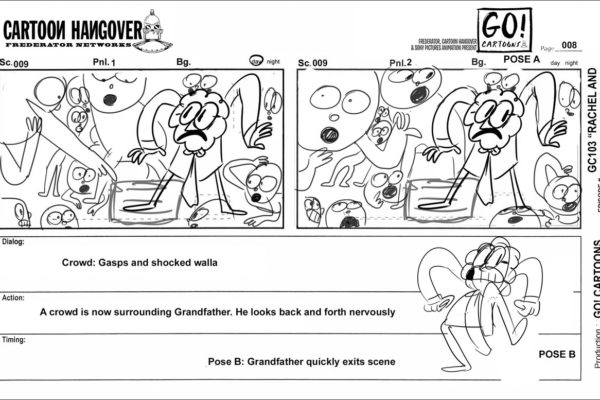 "Exit stage left!Here's a cut-for-time storyboard page from Jonnï Phillips's ""Rachel and Her Grandfather…"